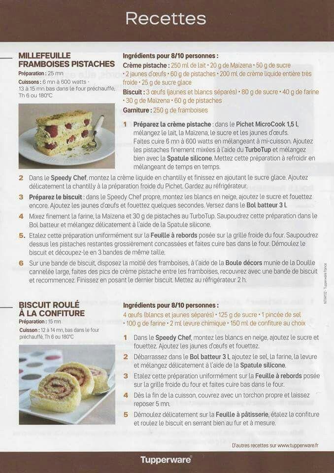 Fiche recette Feuille silicone - Tupperware 2/2 : Millefeuille framboise pistache, roulé à la confiture