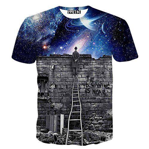 FaPlus Men's Fashion Night Wangxingkong 3D Print Hip Hop Style T-Shirts