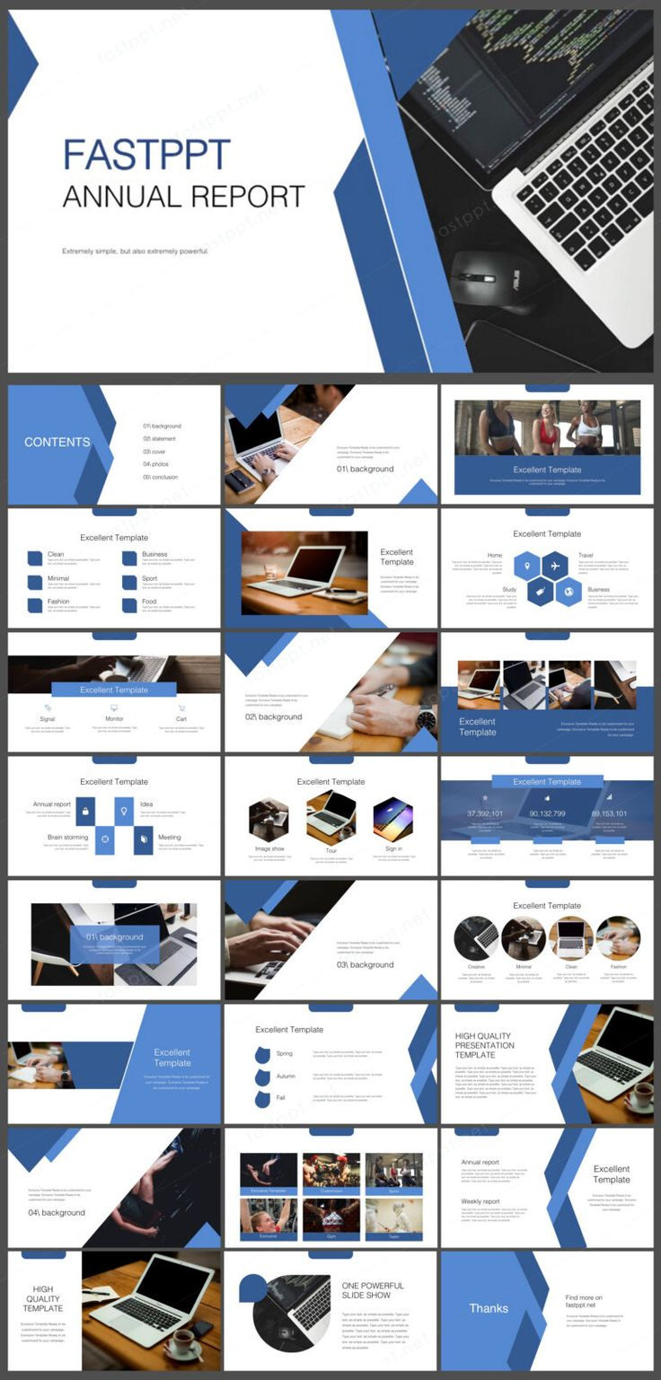 Blue Report Presentation Powerpoint Original and High