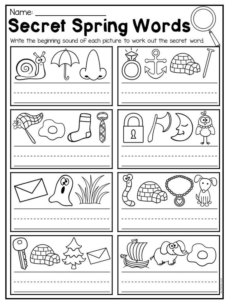 Kinder Garden: Spring Kindergarten Math And Literacy Worksheet Pack