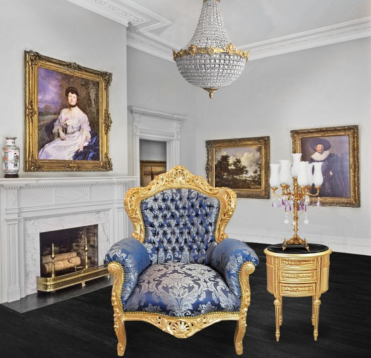 grand baroque style armchair blue goblin fabric and gold wood royal art palace baroque style. Black Bedroom Furniture Sets. Home Design Ideas