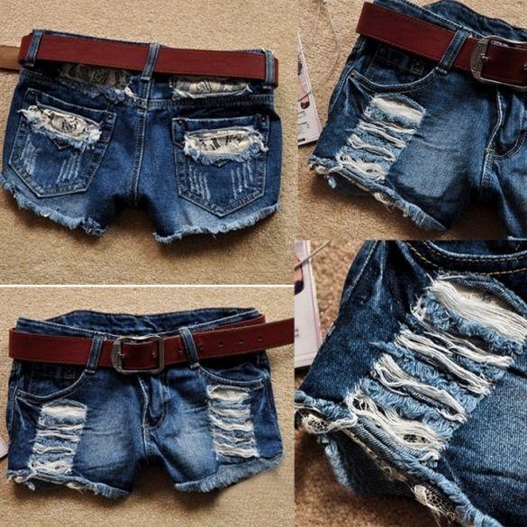 Retro Women's Low Waist Tassel Hole Lace Jeans Denim Shorts