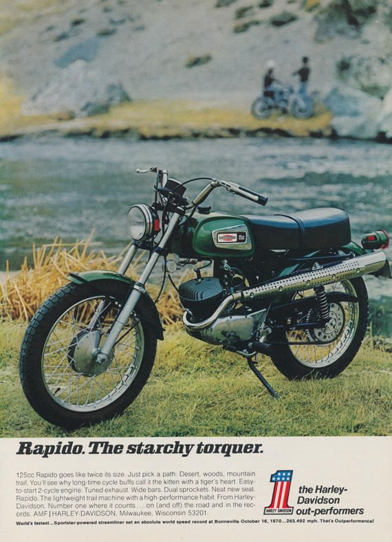 1971 Harley-Davidson Rapido 125cc Motorcycle Ad Vintage