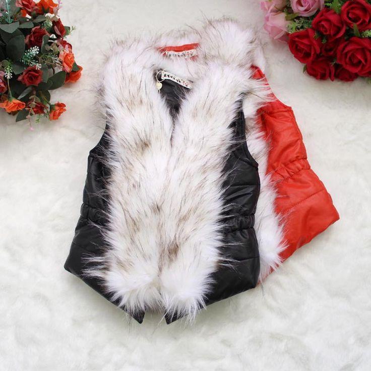 Pas cher 2014 nouvelle arrivée filles luxueuse fourrure de renard col en fausse cuir veste manteau chaud veste vêtements bébé fille enfants hiver outwear, Acheter  Vestes et Manteaux de qualité directement des fournisseurs de Chine:                  Cher ami,                                Bienvenue à mon magasin!           Je suis très heureux d&#39