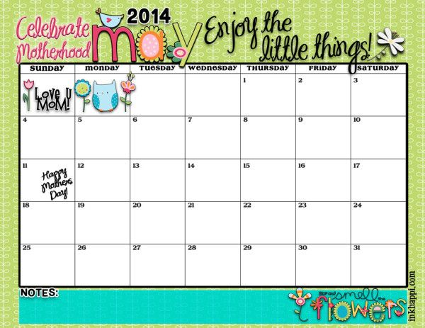 Love this cute free printable May 2014 calendar! Using it to track my gym trips!