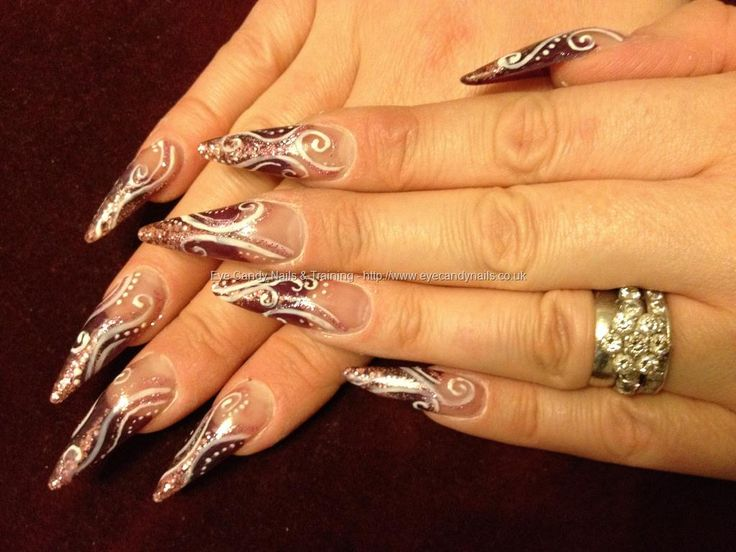 110 best acrylic nails images on pinterest beautiful design and stiletto nails with free hand nail art prinsesfo Images