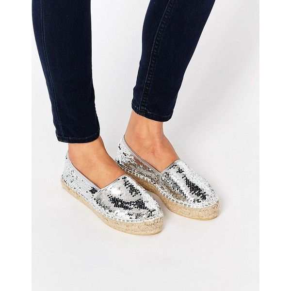 ASOS JELLY BEAN Sequin Espadrilles ($19) ❤ liked on Polyvore featuring shoes, sandals, silver, espadrille flats, flat shoes, slip on flats, slip on shoes and flatform espadrilles