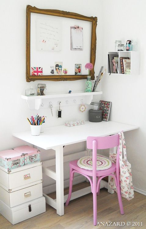 Cute, girly, small-space work area!!