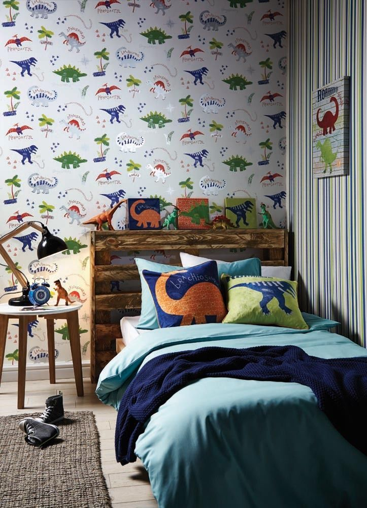 Dino Doodles Dinosaur Themed Room Concept   Boys Bedroom Wallpaper Art  Cushion | Wallpaper Rolls U0026