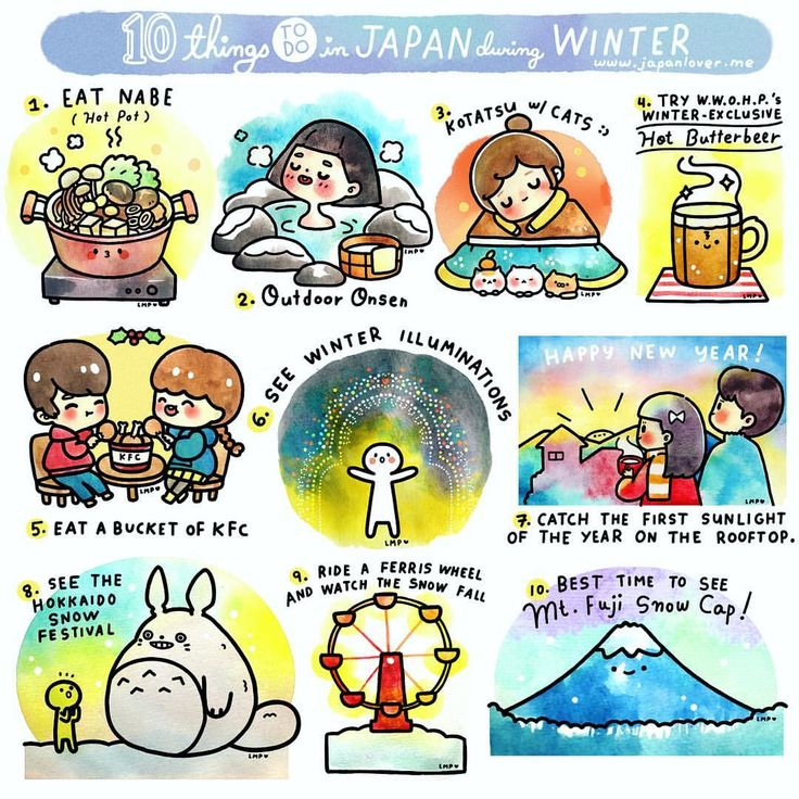 Here's the complete list of 10 things to do in Japan during winter! ❄️ Thank you all for your suggestions ❤️ (you suggested a lot of fun things! We wish we could fit them all here! ) Art by @chichilittle  List of contributors in the comments ❤️ #japanloverme #japan #winter #ThingsToDoinJapaninWinter