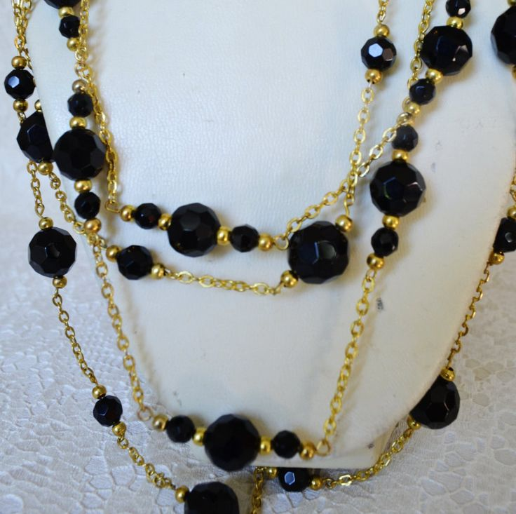Black Agate Statement Long Multi Strand Chanel by BeadsGemsFlowers