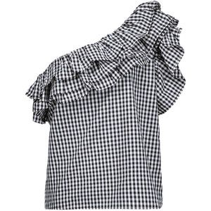 W118 by Walter Baker - Martyn One-shoulder Ruffled Gingham Cotton Top