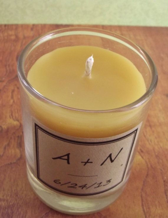 Handmade Beeswax Candles Wedding Favors 100 Personalized Candles by candlesbynature, $375.00