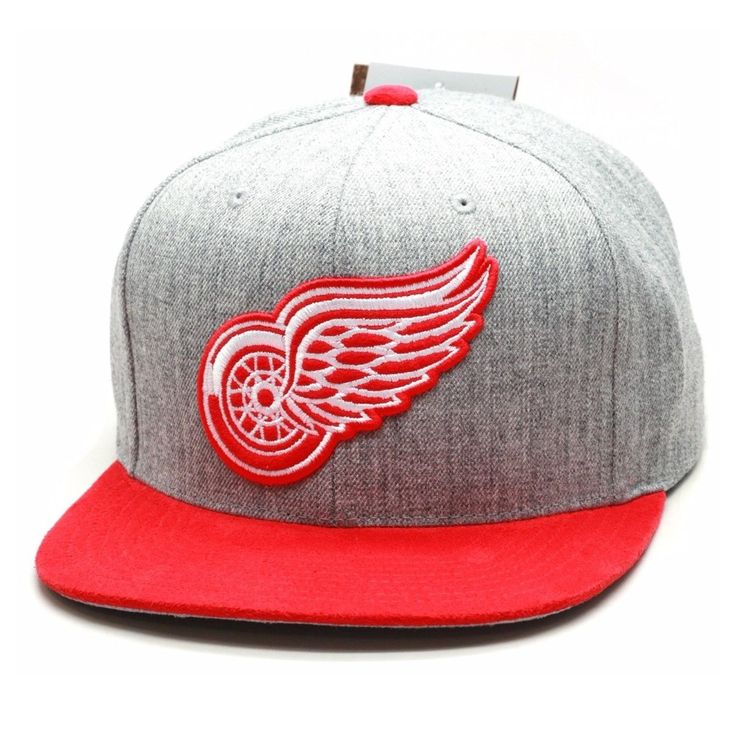 Detroit Red Wings Mitchell & Ness Heather Gray Black Snapback Hat