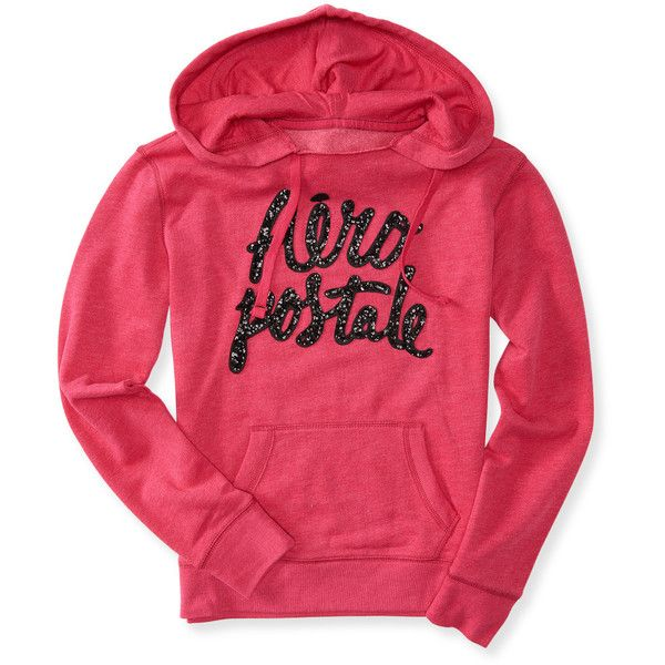 Aeropostale Aéropostale Sequin Popover Hoodie ($18) ❤ liked on Polyvore featuring tops, hoodies, red hoodie, hooded pullover, aeropostale hoodie, aeropostale hoodies and drawstring hooded pullover