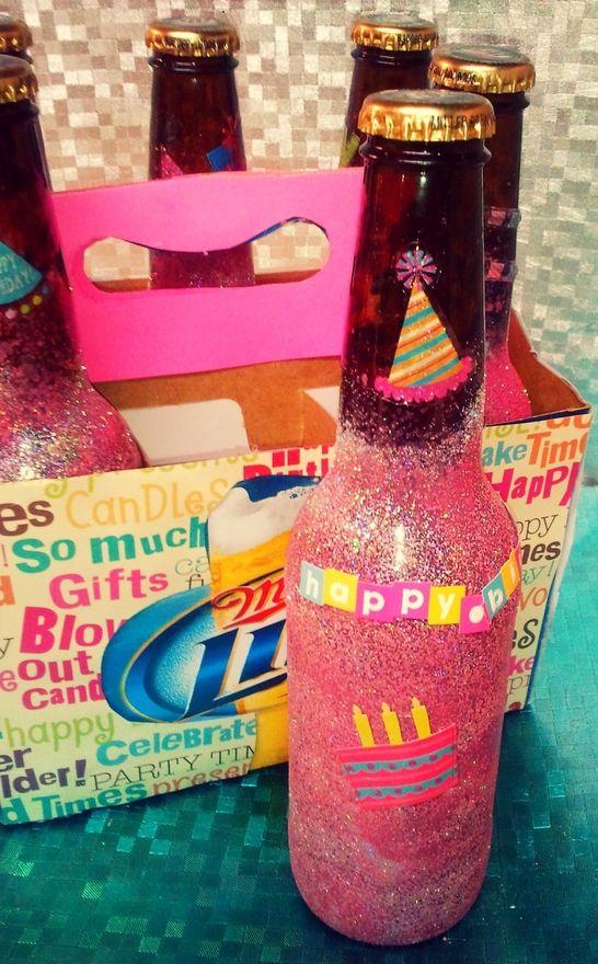 birthday crafts: Best Friends, Cute Idea, Birthday Idea, Beer Bottle, 21St Birthday Gifts, Sprays Paintings, Birthday Beer, Wine Bottle, Birthday Crafts