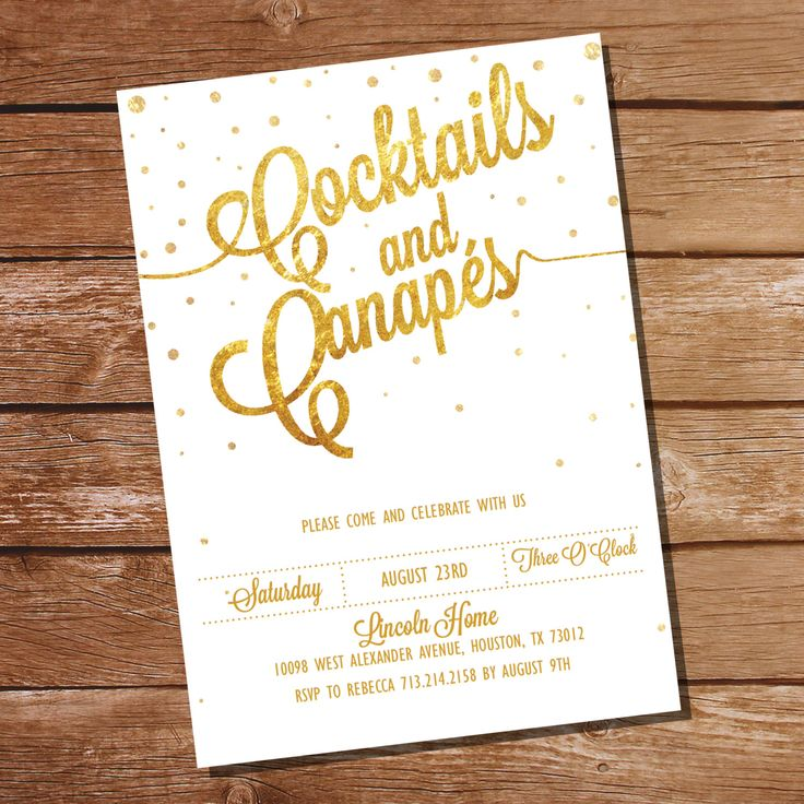 Gold Glitter Cocktail Party Invitation