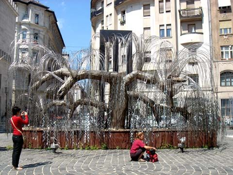 Budapest. Tree of Life.  Each leaf on the willow tree has the name of a Jewish Holocaust victim. Outside Dohany Synagogue.
