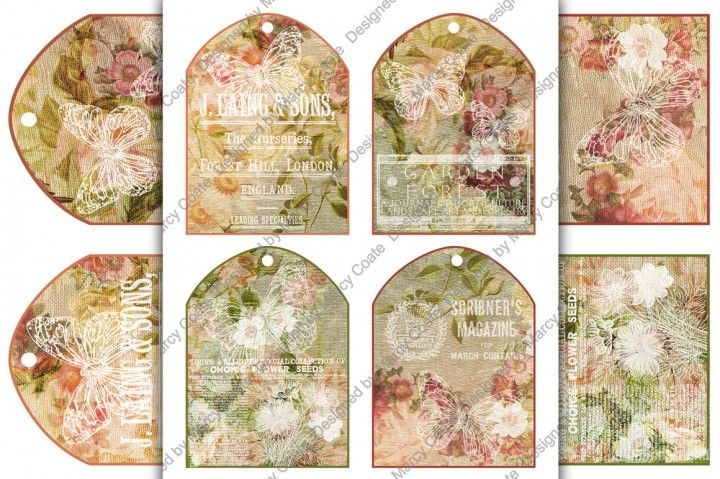 "Set of 4 arched printable tags (3.5 x 4.75 inch) ready to print on US Letter or A4 international size. I recommend that you print these tags on 250 gsm cardstock (12 pt / 90 lb). Lovely floral burlap backgrounds in shades of rose, pink, yellow and green, with vintage advertising and butterflies ""stamped"" in white give them a shabby cottage chic feel. Print and use as gift tags (write your message on the back) or decorate them with ribbon, bows, buttons,"