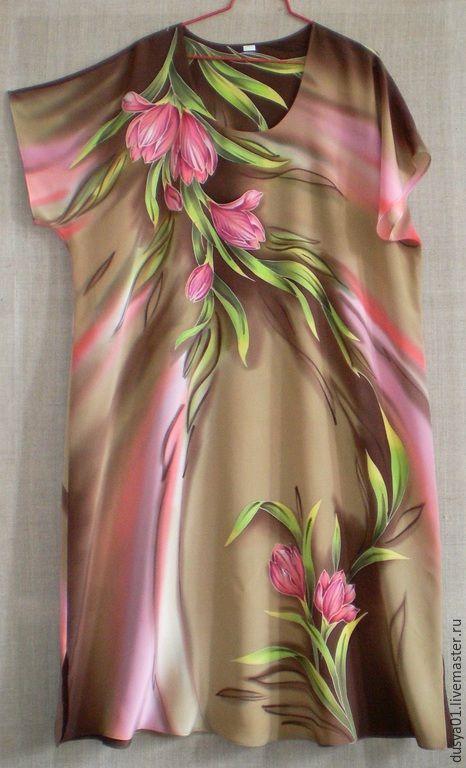 Купить Платье-Батик''Крокусы'' - разноцветный, цветочный, платье летнее, платье, натуральный шелк, крепдешин
