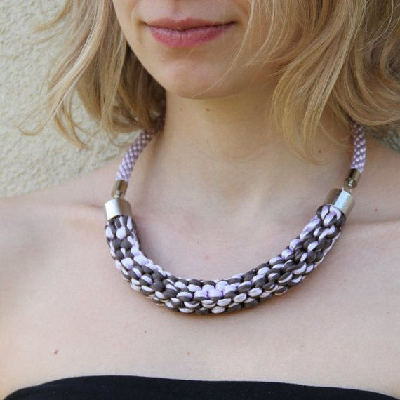 Lilac and grey knotted satin rope necklace by SophiesKnotShop on Etsy