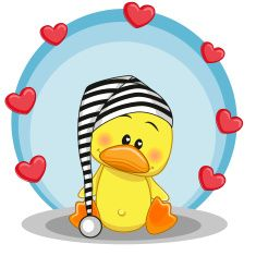 Duck with hearts vector art illustration