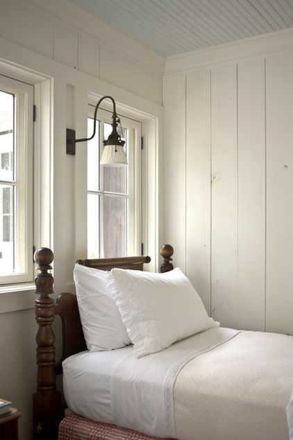 traditional bedroom by Historical Concepts Houzz  Love the vertical plank walls in white