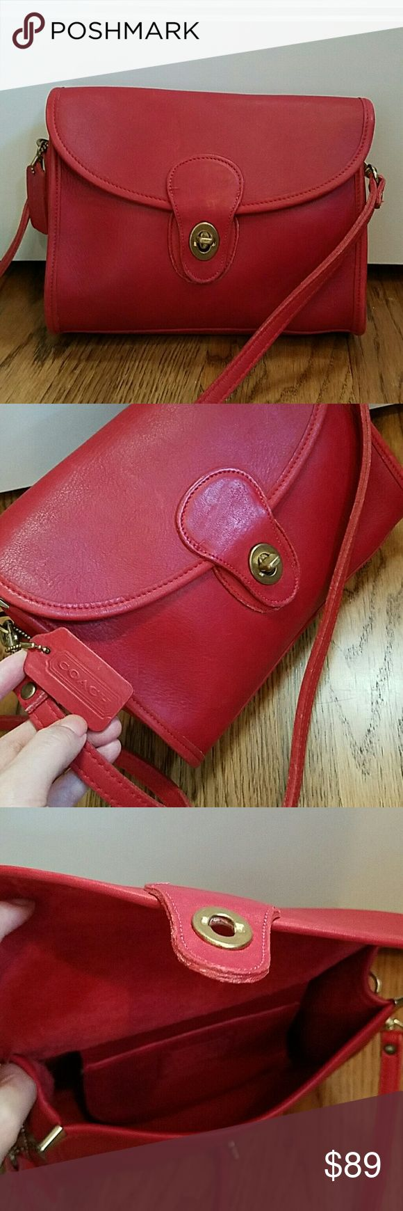 """Vintage Coach Red Leather Crossbody bag USA made Vintage Coach Red Leather Handbag Crossbody Beautiful red leather Preowned, very good vintage condition Measurements: 9"""" long, 7""""tall, 2""""wide, 22"""" Strap Genuine Leather Made in the United States Any questions pls. feel free to contact me.  Thanks for looking! Coach Bags Crossbody Bags"""