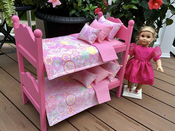 American Girl Doll:  Furniture hot pink  bunk beds with  12