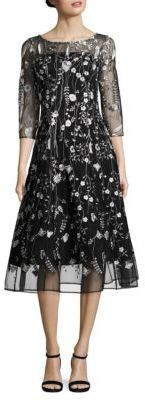 Kay Unger Embroidered Midi Dress