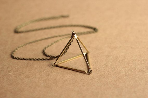 Triangle necklace 3D design geometric minimal by acommonthread, $45.00