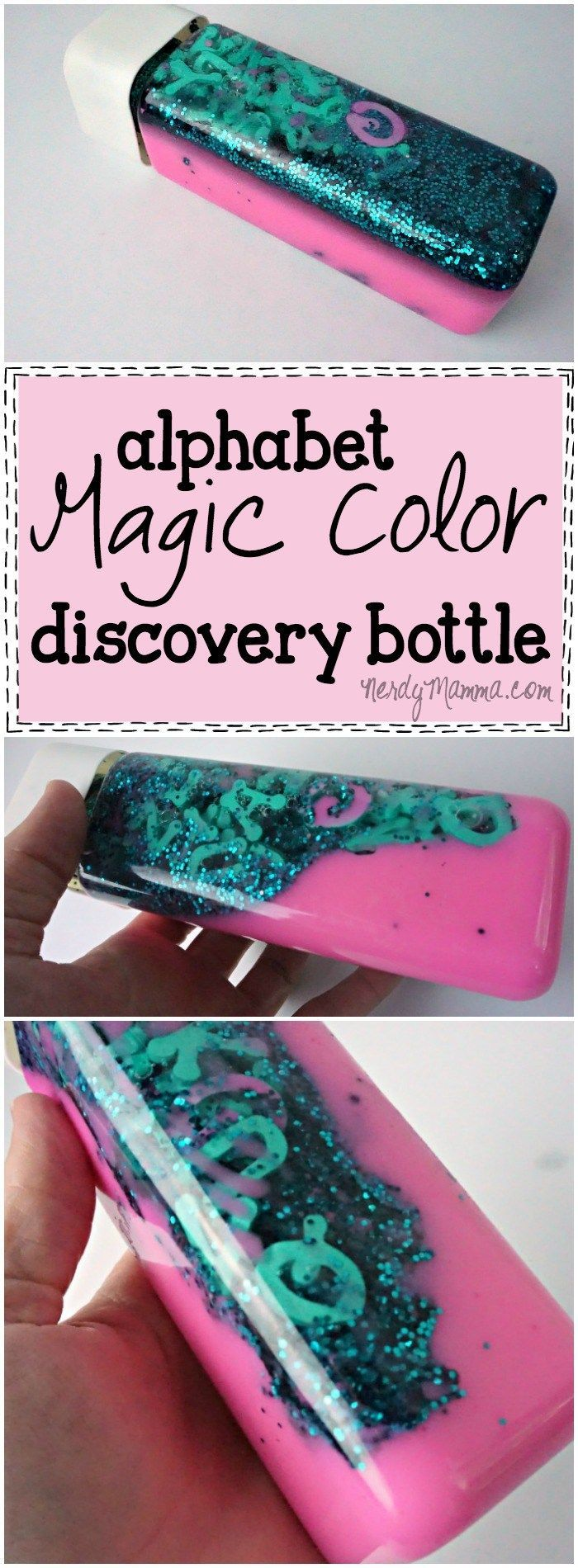 This alphabet magic color discovery bottle is so cool! The colors...just so neat! I can't wait to make one for my kids!