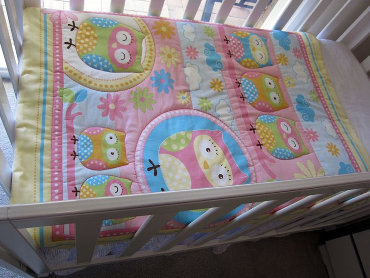 Owl baby quilt by MKcollectionMK on Etsy