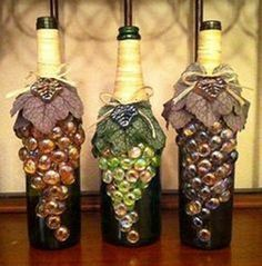 964 best images about yard art on pinterest bird feeders - How to decorate glass bottles ...