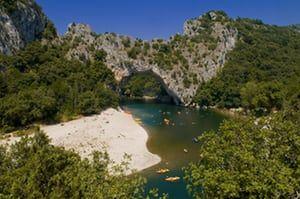 France, Ardeche, Gorges de l'Ardeche, Vallon Pont d'Arc, Pont d'Arc