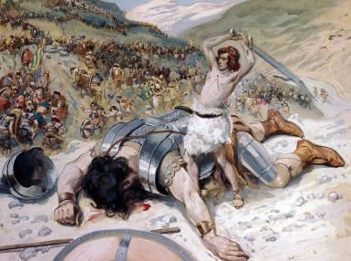 What the Story of David and Goliath Teaches Us About Facing Giants: David Cuts off the head of Goliath by James Tissot.
