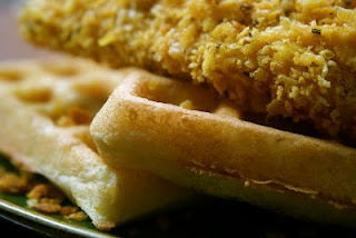 Crispy Rosemary Corn Flake Chicken With Cornbread Waffles