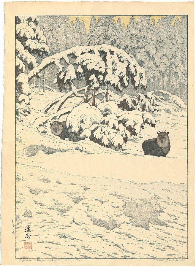 Toshi Yoshida : Japanese antelopes in the snow