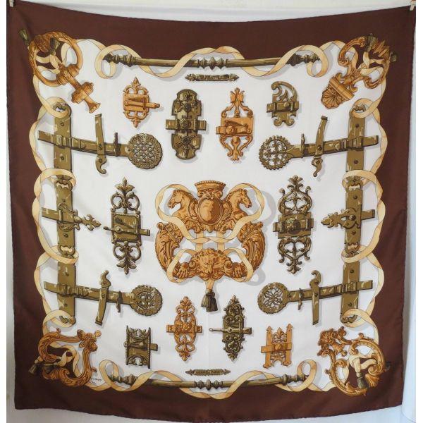 carré de soie vintage hermès paris Ferronnerie C de Savigny Caty Latham  sciarpa edition limitée dba5246448a