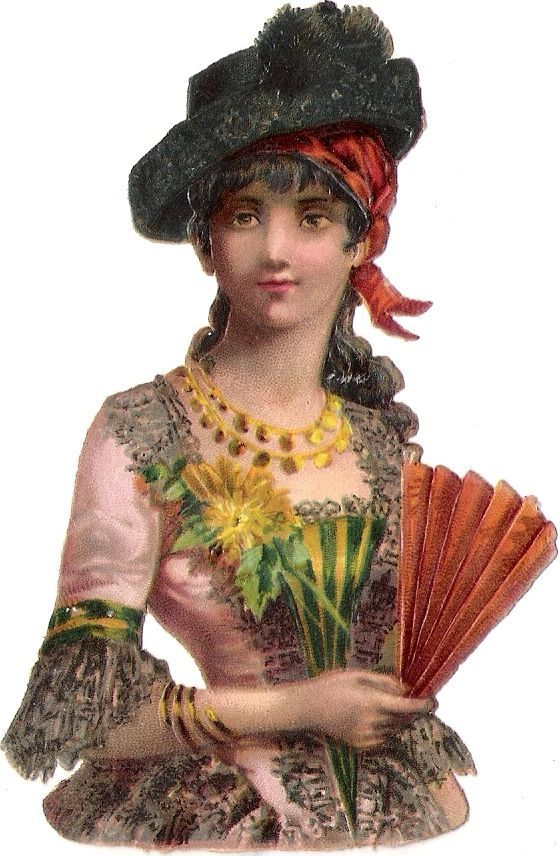 Oblaten Glanzbild scrap die cut chromo Dame lady femme woman Fächer fan: