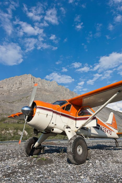 Bush pilot Dirk Nickisch of Coyote Air, on a landing strip in his De Havilland Beaver, along the Canning River, Arctic National Wildlife Ref...