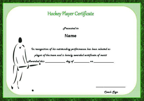hockey player of the game certificate hockey certificate templates