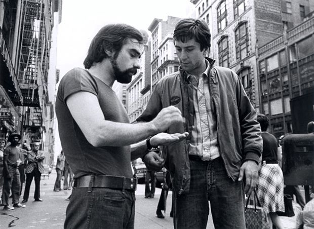 Martin Scorsese and Robert de Niro on the set of Taxi Driver (1976)