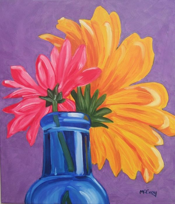Gallery for easy still life paintings of flowers for Easy way to paint flowers