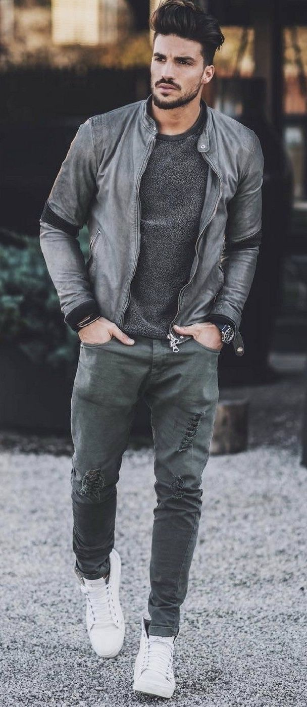 Marianodivaio With A Monochrome Fall Combo With A Gray Leather Jacket Black Sweater Watch Wrist Mens Outfits Mens Designer Fashion Mens Street Style Casual