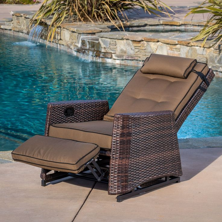 This heavy-duty outdoor recliner is made with high-quality brown PE wicker and the relaxing rocking mechanism allows the chair to rock in upright or reclined position. The cushions included with this chair are made from weather resistant materials.