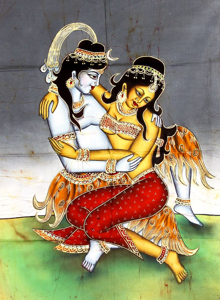 batik art   Shiva Parvati