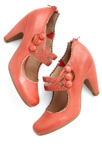 Dance the Day Away Heel in Red by Miz Mooz - Red, Solid, Buttons, Cutout…