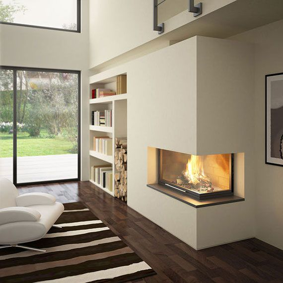 Corner Fireplace Ideas With Modern Shape And Comfortable White Sofa Furniture Sets And Wooden Floor Ideas