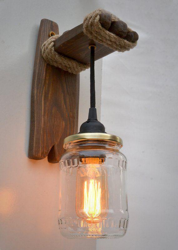 Wandlampe Aus Holz Und Konservenglas Wandleuchte Aus Holz Etsy Wooden Sconces Wood Wall Lamps Mason Jar Lamp
